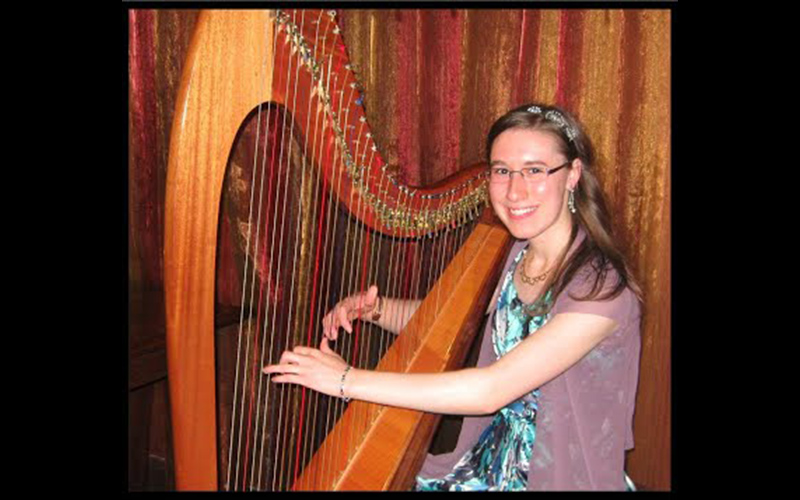Tiffany Baker harpist hire events Wellington